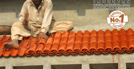 4 Pak clay ceramic roof products shingles khaprail tiles fixer installation low price images islamabad