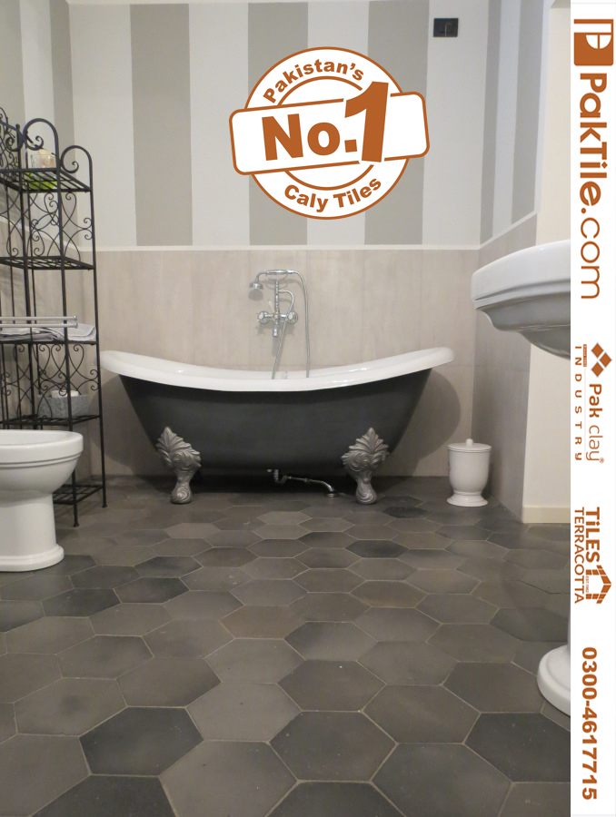 Buy Online Washroom Hexagon Floor Black Colors Tiles Factory Shop Price in Pakistan Images