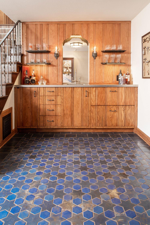 Glazed Ceramic Blue Floor Tiles For Kitchen Living Room and Bathroom