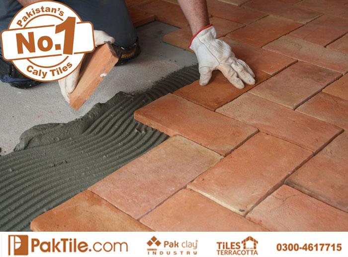 3 Pak Clay Red Bricks Garage Terracotta Tiles Installation Design in Islamabad Rawalpindi Pakistan Images