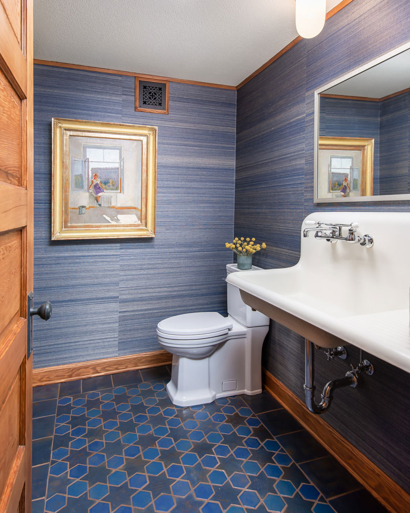 Glazed Blue Porcelain Floor Tiles For Washroom Floors and Walls