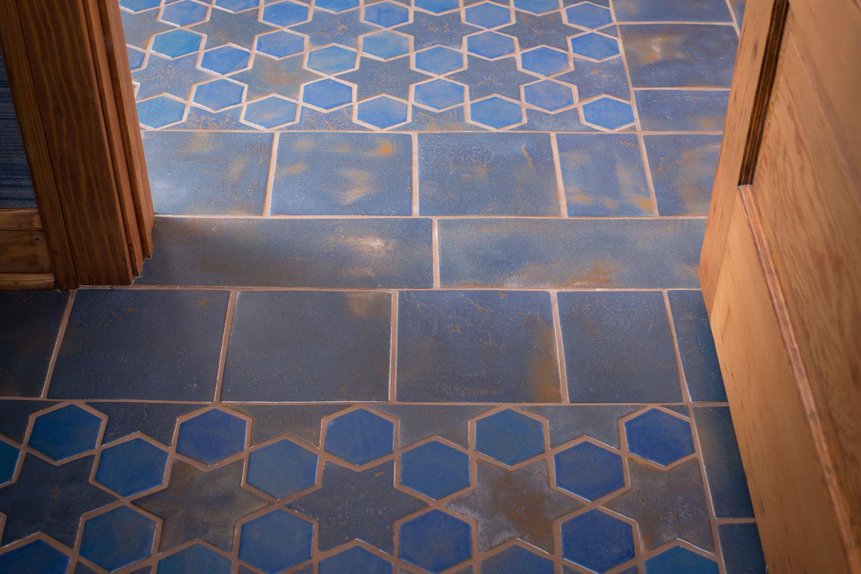 Colors Glazed Blue Porcelain Mosaic Tiles For Indoor Floors