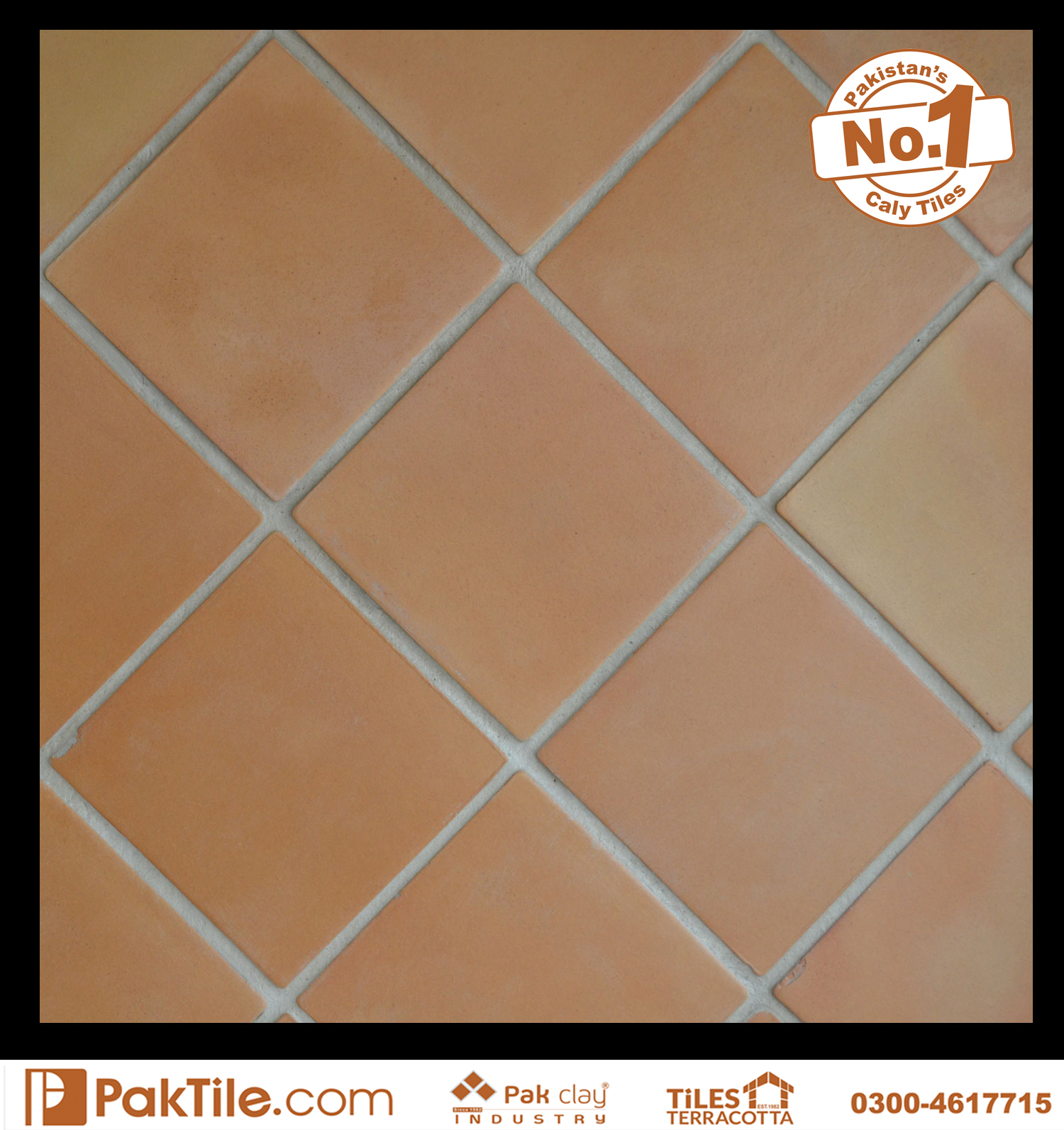 Natural Colors Terracotta Kitchen Floor Tiles Square Design Size 8x8 inch Images in Pakistan