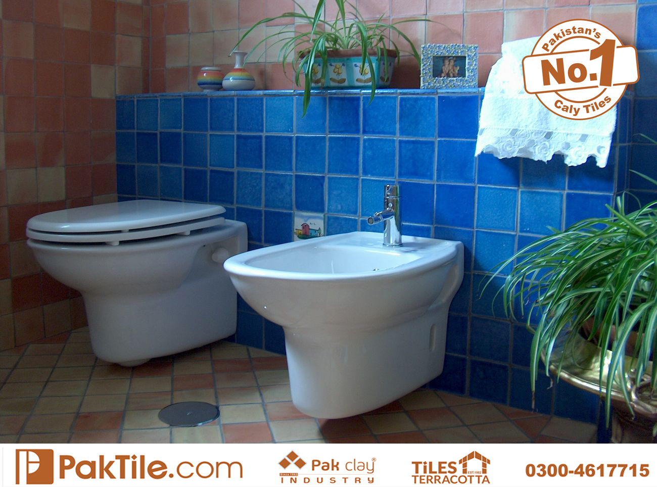 Brick wall panels backsplash blue glazed commercial toilet bathroom red floor and wall tiles rate Pakistan