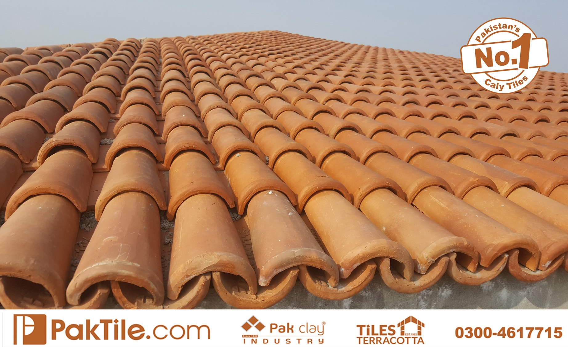 3 Pak Clay Terracotta Roofing Khaprail Tiles in Karachi Images.