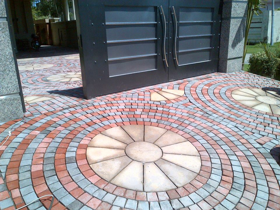 House Main Gate Ramp Tiles Design Images in Pakistan