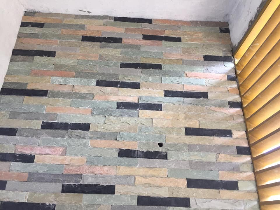 front elevation wall face stone tile design in pakistan