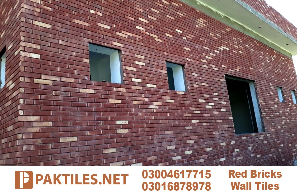 Red Wall Gutka Face Bricks Lahore Pakistan