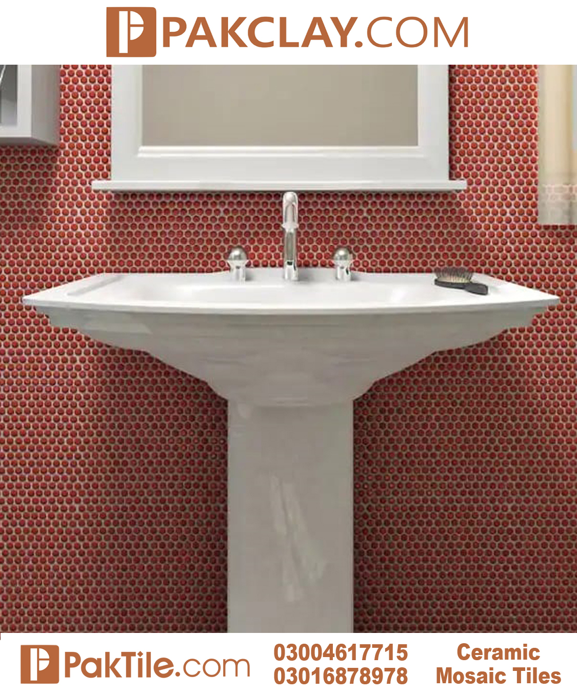 Red Color Ceramic Wall Tiles Design in Pakistan