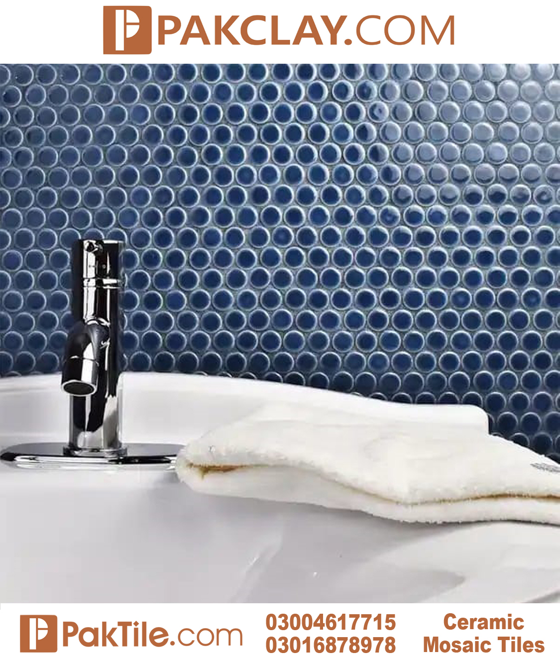 Blue Color Ceramic Bathroom Wall Tiles in Pakistan