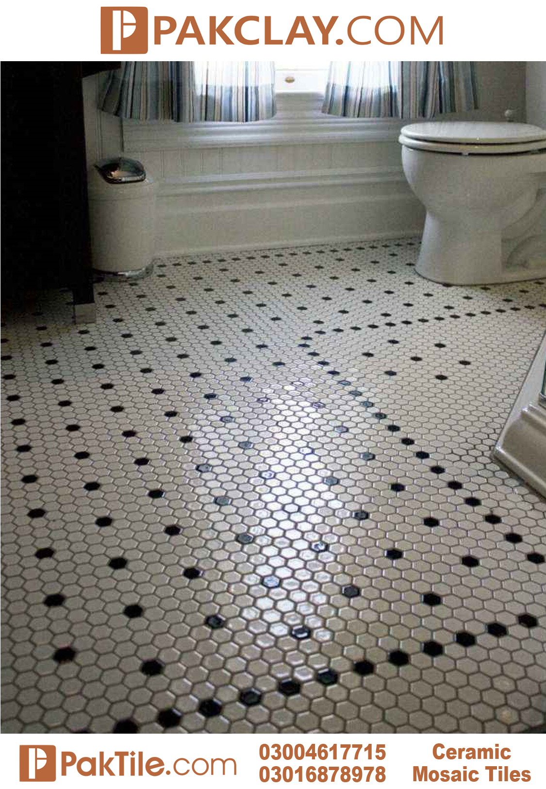 Hexagon Mosaic Floor Tiles Colors White and Black