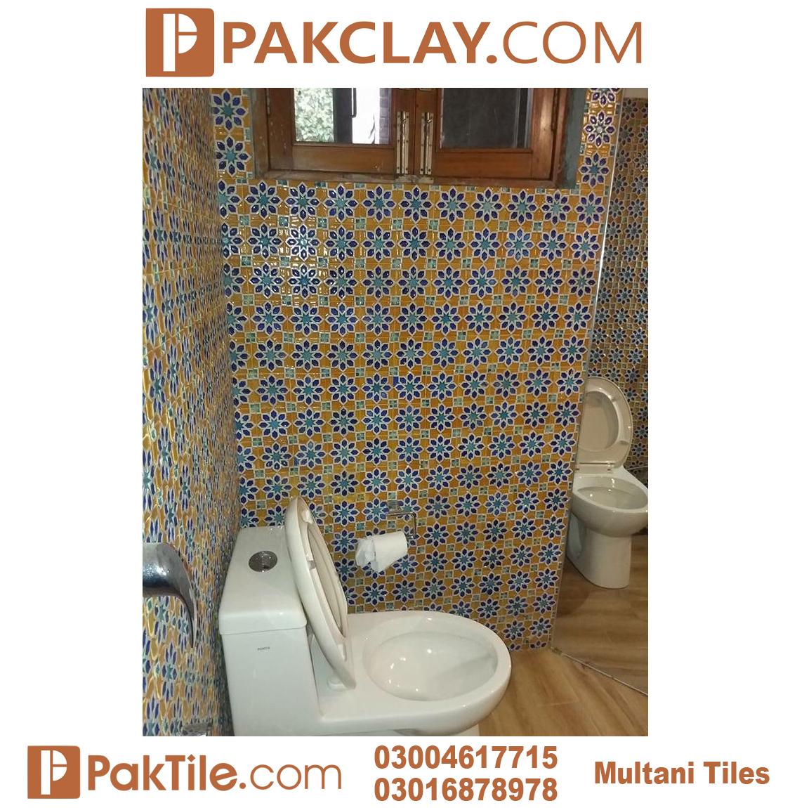 Toilet Blue Multani Tiles For Washroom